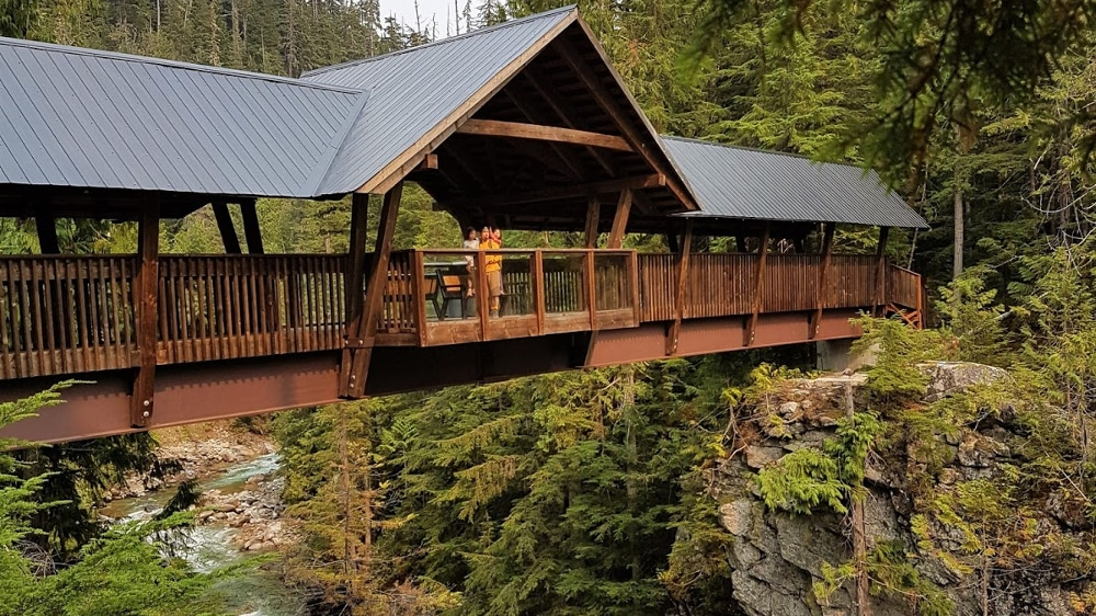 Kootenay Hot Spring Cabins - Nakusp & Halcyon BC - Kuskanax Creek Bridge